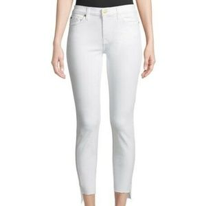 7 for All Mankind White Denim Ankle Guinevere Jean